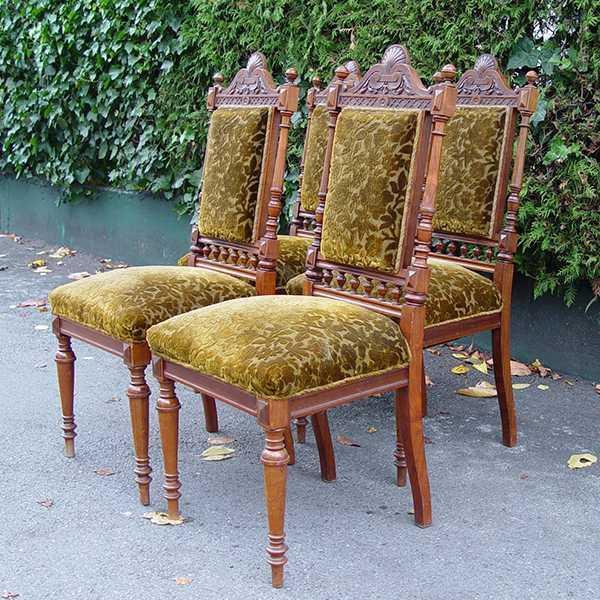 4 er satz st hle jugendstil nussbaum um 1890 unrestauriert ebay. Black Bedroom Furniture Sets. Home Design Ideas